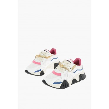 Versace Women leather and fabric sneakers with removable chain Ships Free DWNY786